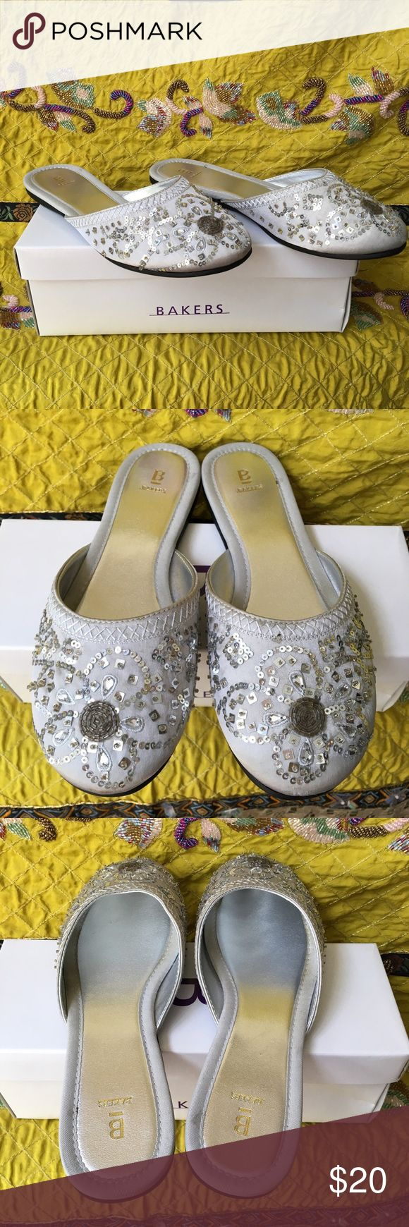 💥NWT Embelished Silver Slipper Style Shoes💥 Never been worn and in original box! Bakers silver slipper style shoes with sequin and beaded embellishments. Bakers Shoes Slippers
