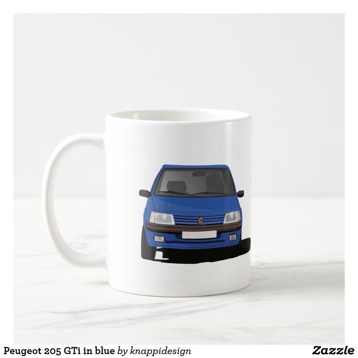 Peugeot 205 GTi in blue on a coffee mug.  #peugeot #peugeot205gti #205 #205gti #gti #peugeotgifts #coffeemugs #blue