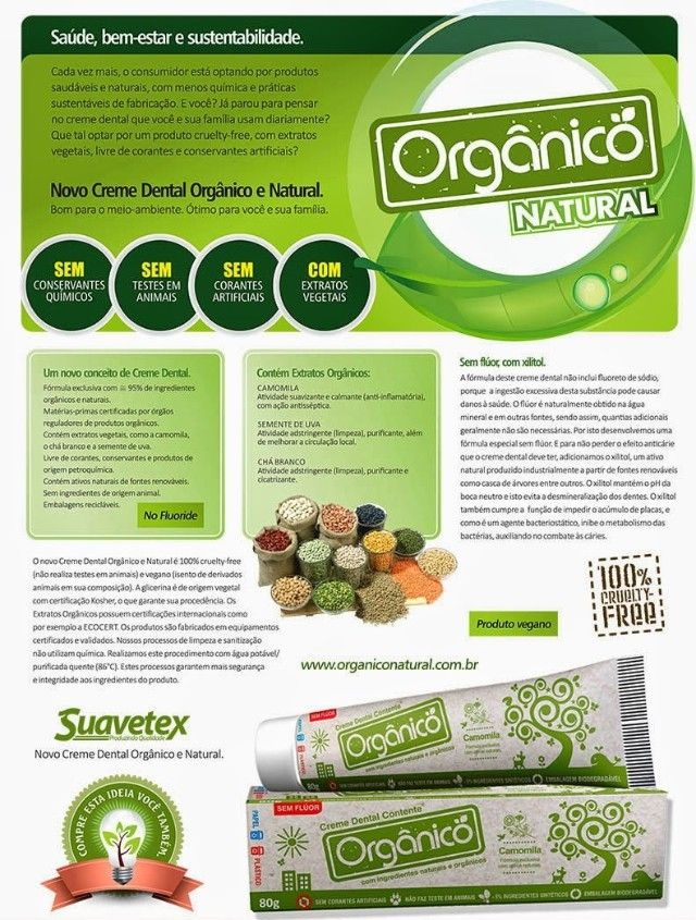 Creme Dental Contente Orgânico sem flúor 80g - Empório Vegan - Produtos e Alimentos Veganos