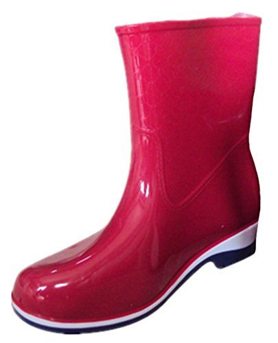 IDIFU Womens Breathable Antiskid Short Wellies Rain Boots Ankle High Rubber Shoes Red 5 BM US -- You can find out more details at the link of the image.