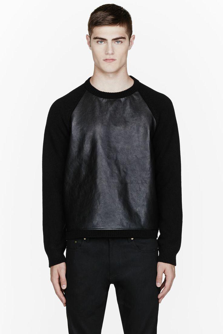 SAINT LAURENT Black wool leather-paneled sweater