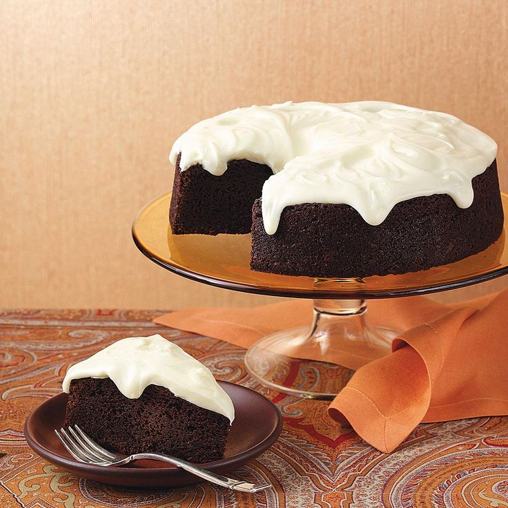 Chocolate Guinness Cake Recipe -One bite and everyone will propose a toast to this silky-smooth chocolate cake. The cream cheese frosting reminds us of the foamy head on a perfectly poured pint. —Marjorie Hennig, Seymour, Indiana