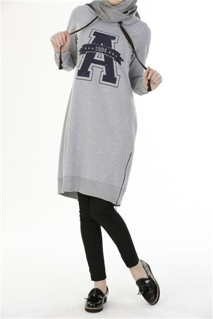 Tesettür Tunik Kapşonlu Gri  Modelleri ve Uygun Fiyat Avantajıyla   Modabenle