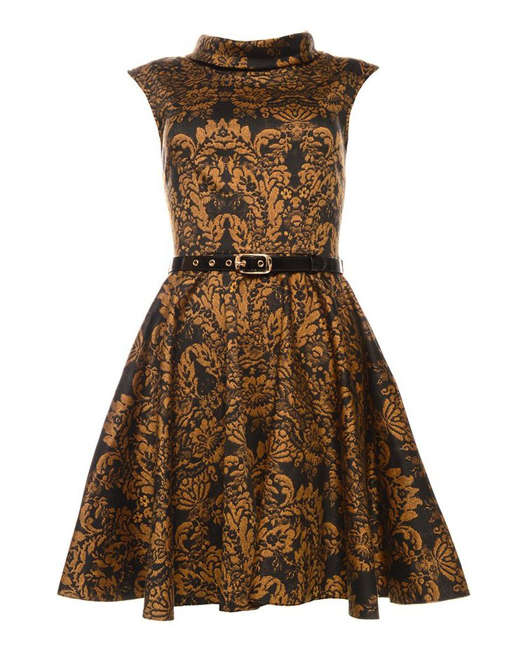 CLOSET | Patter Belt Dress in Gold - - Style36