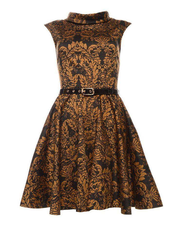 CLOSET | Patter Belt Dress in Gold - - Style36