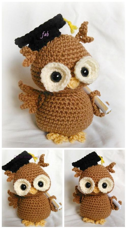 Crochet Graduation Owl Amigurumi Free Pattern & Paid