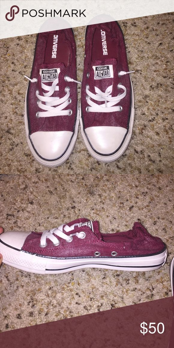 Low top converse. NEVER BEEN WORN. Low top, burgundy/garnet colored converse. Never been worn. Converse Shoes Sneakers