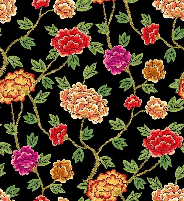 Korea Traditional Pattern Flowers - black