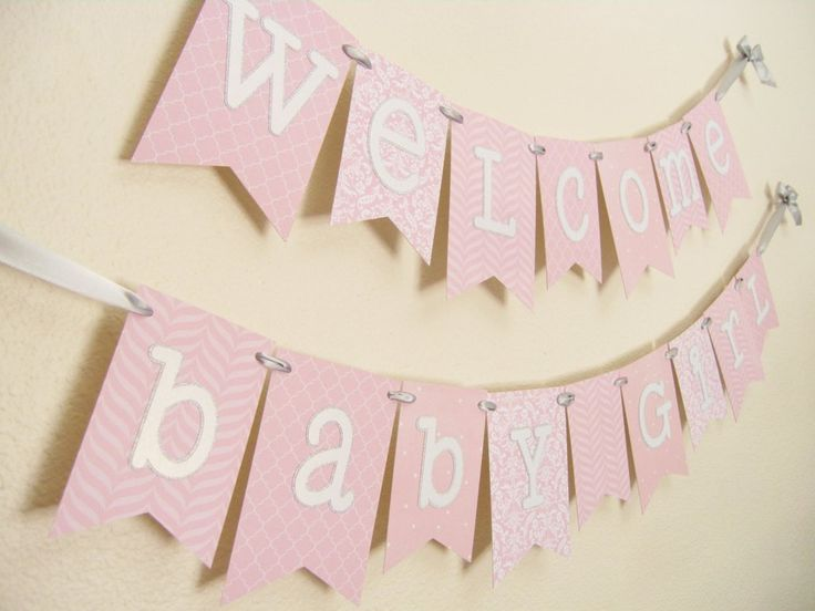 Pink and Gray Baby Shower Banner | Welcome Baby Girl | Pink White Silver
