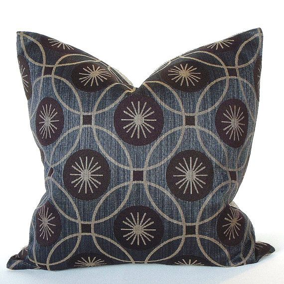 Decorative Blue Pillow - 20x20 - Indigo Blue and Beige Circles - Upholstery Throw Pillow Cover