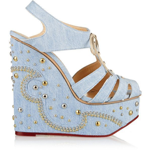 Charlotte Olympia  Gene Embellished Denim Wedge Sandals 478  liked on Polyvore featuring