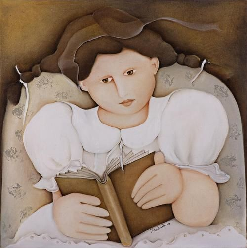 woman reading by Inha Bastos (Brasilian, b. 1949). It is all a story, even history and science.