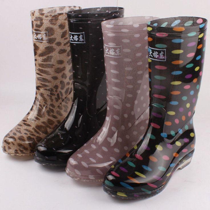 Women's Rain Boots Flat Wellies Waterproof Knee High Mid Calf Boots Anti-Skid