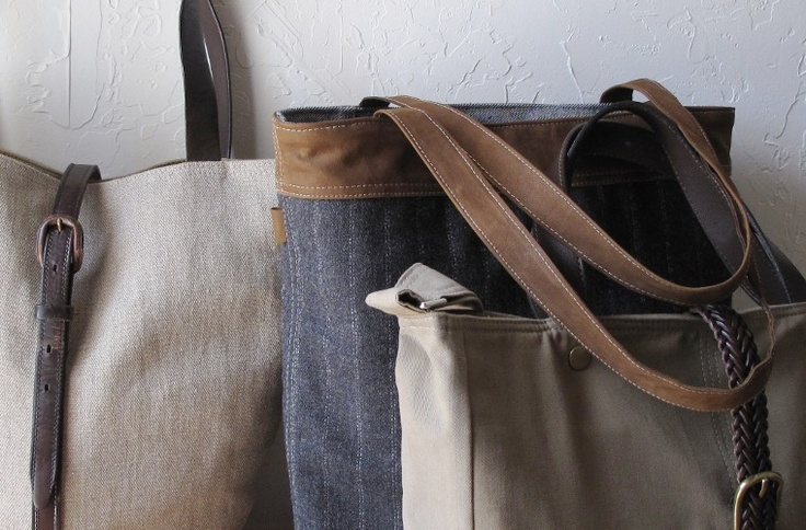 Rugged chic totes created by former innkeeper, Abby Meadow. Love to see women generate great business ideas from home with nothing but a Singer sewing machine.