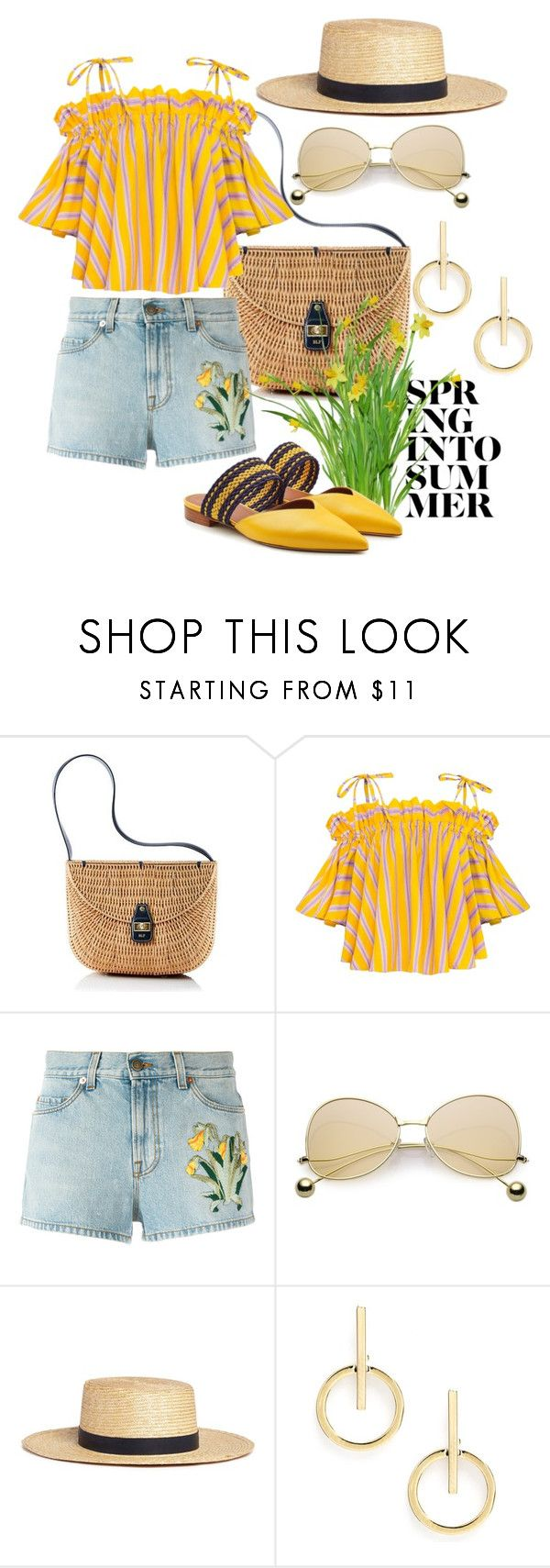 """""""Spring Into Summer!"""" by lheijl ❤ liked on Polyvore featuring Mark & Graham, Gucci, Janessa Leone, Sole Society and Malone Souliers"""