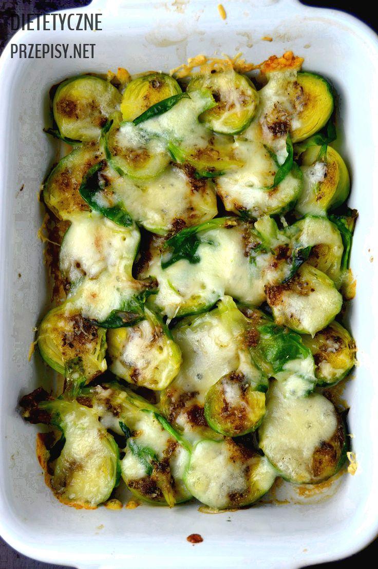 lekkie danie po świętach brukselki pieczone z mozzarellą