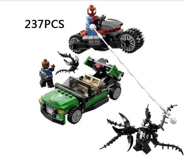 Marvel heroes amazing spiderman spider-cycle chase track building block mini Venom Nick Fury figures decools bricks 76004 toys