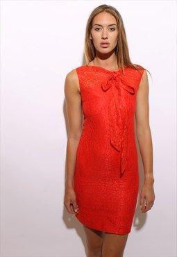 vintage 60s bright coral red orange lace dress sheath XS-S