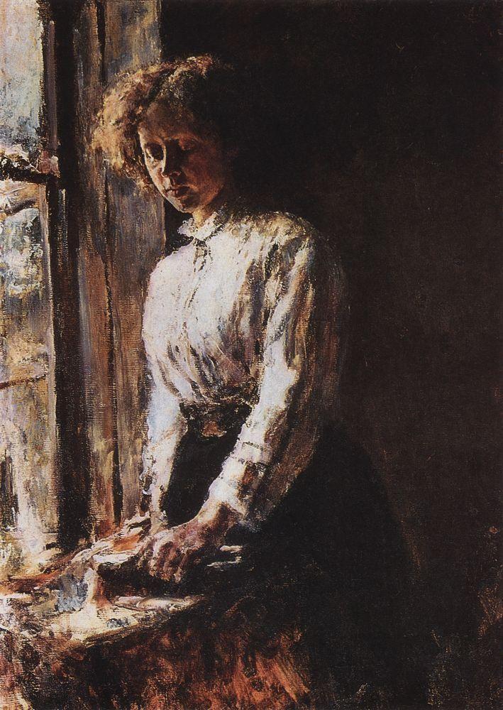 By the Window. Portrait of Olga Trubnikova - Valentin Serov