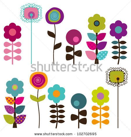 Collection of Retro or Mod Style Vector Flowers by PinkPueblo, via ShutterStock