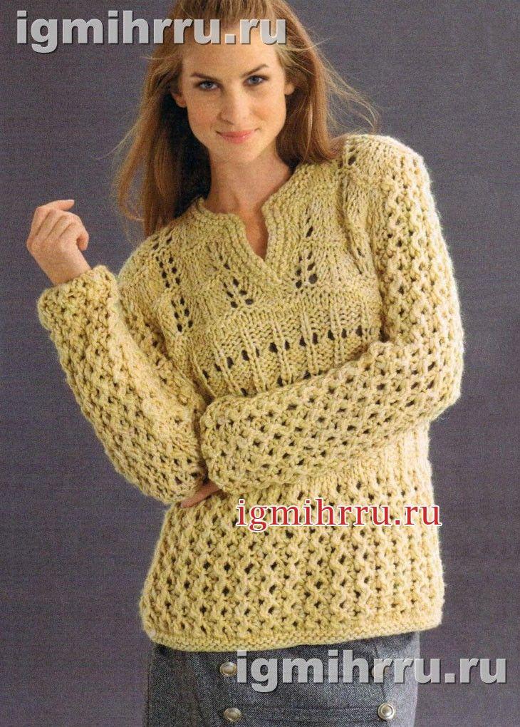 pulover galben cu model de fire groase. tricotare