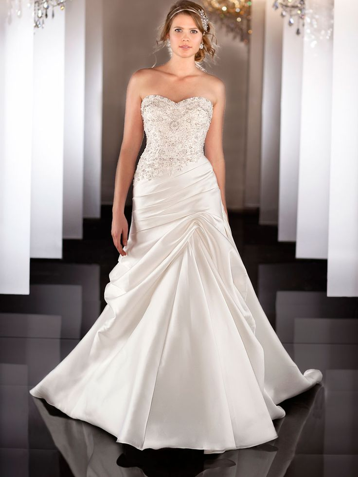 Soft Silk Sweetheart A Line Wedding Dress With Beaded Bodice Ruched Waist