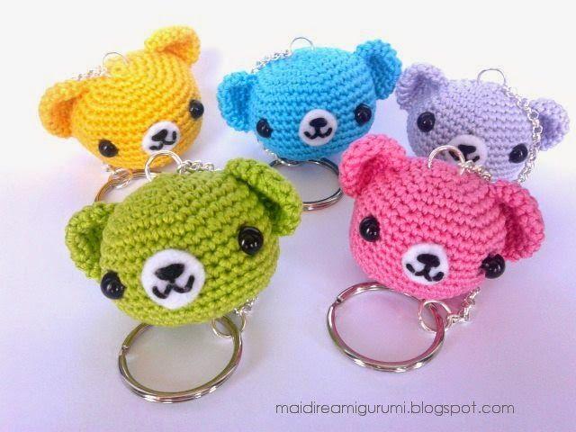Mai Dire Amigurumi, #crochet, free pattern, amigurumi, bear keychain, #haken, gratis patroon (Engels), beer, sleutelhanger, #haakpatroon, meer patronen op site
