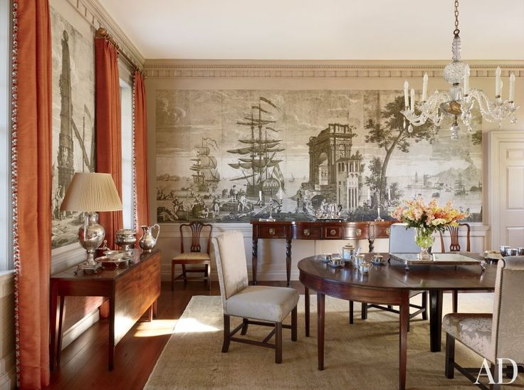 Antique dining table regency sideboard and dufour et for Traditional dining room wallpaper