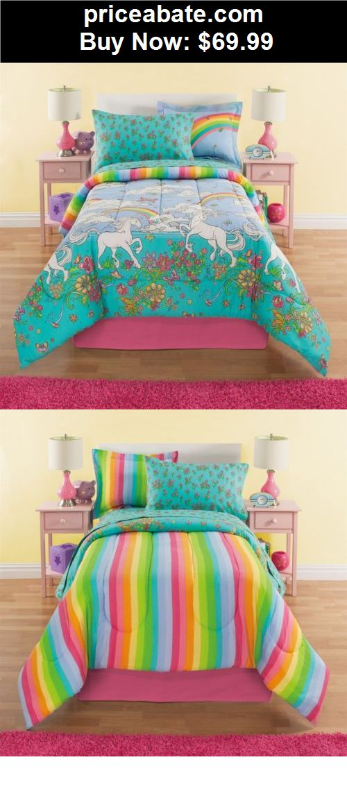 Bedding: NEW Twin Full Bed Bag Unicorn Floral Rainbow Reversible 8pc  Comforter Sheets Set