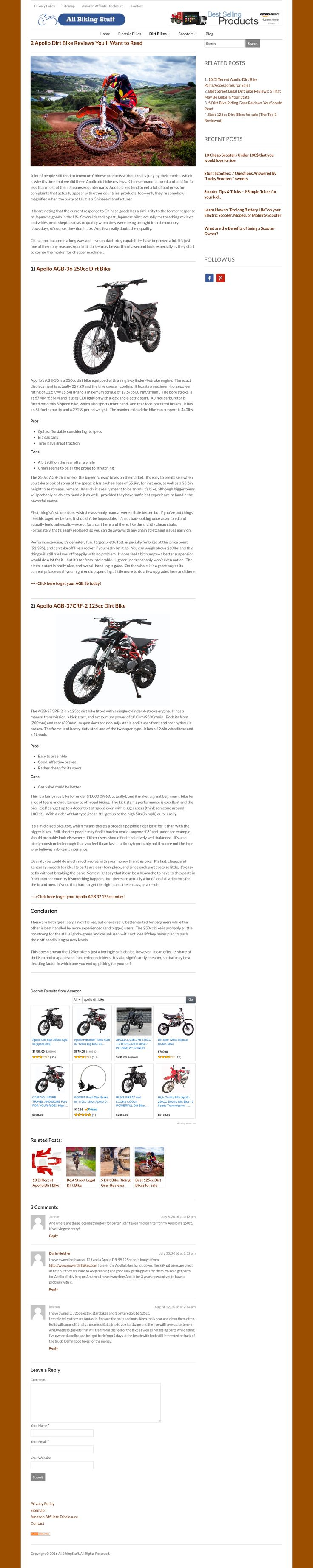 Apollo dirt bikes: 2 models compared and reviewed.