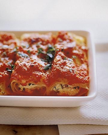 Martha Stewart's Manicotti w/Tomato Sauce. Pretty close to my recipe ... except I add a little onion powder and also garlic powder.