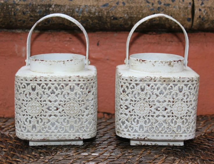 PAIR of  Morrocan Style Small Rustic  Metal Lanterns  ( White )  BRAND NEW