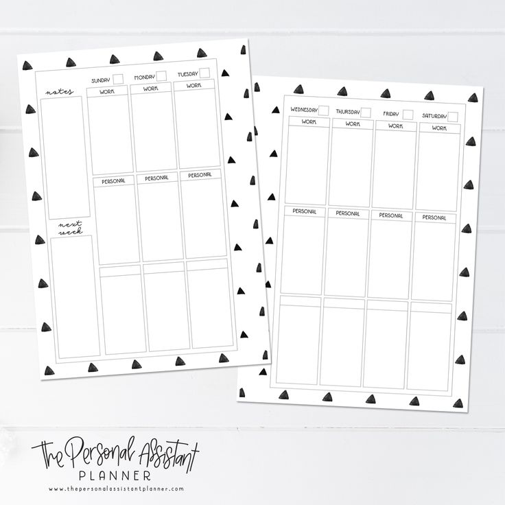 8.5x11 Sunday Start Weekly Printable Planner Insert Pages - The Personal Assistant Business Planner