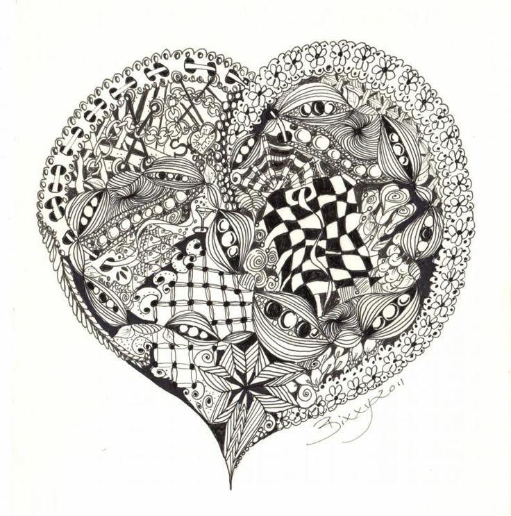 223 best Zentangle Hearts images on Pinterest | Zentangle ... |Zentangle Heart Graphics
