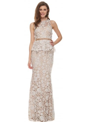 Portia & Scarlett Jaci Nude Lace Peplum Long Evening Gown | Lace ...
