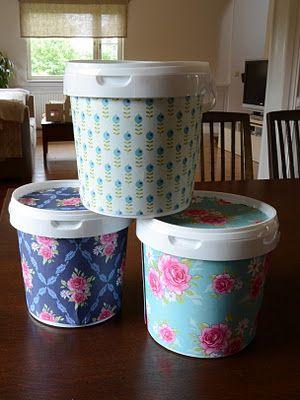 Super cute idea! Pyssel och Inspiration: Förvaring av yoghurt hinkar