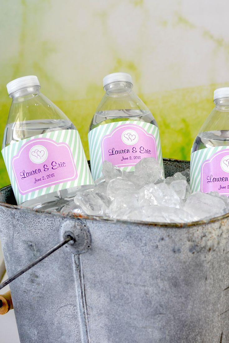 wedding water bottle labels party favours monogram stickers
