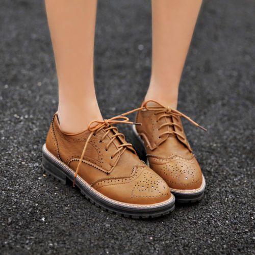 Nuevo Vintage cuero calado con cordones tacón bajo para mujer tacón bajo punta del ala Oxford Zapatos 4 Colores