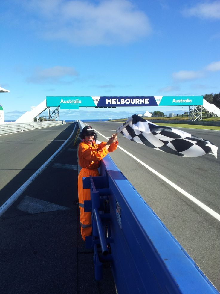 Philip Island Grand Prix Circuit. Chequered Flag at end of session - MotoGP preseason testing 2016