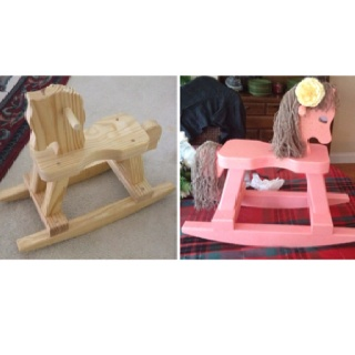 Painted rocking horse for toddlers.