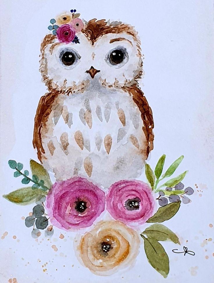 eule owl watercolor aquarell flower blumen in 2020