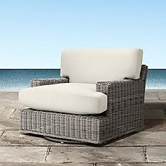 Wyatt Outdoor Swivel Chair in Weathered Grey with Cushions