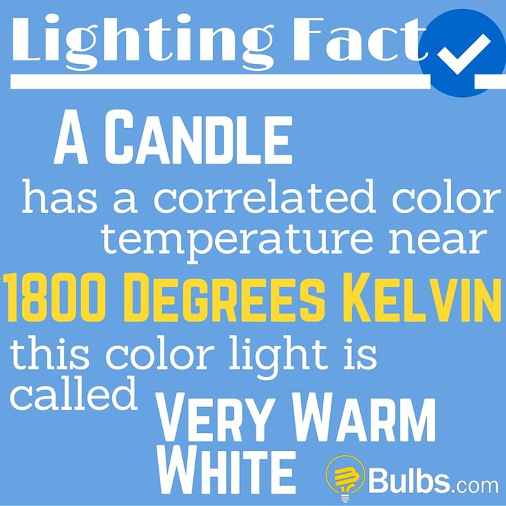 Lighting Fact: A candle has a correlated color temperature near 1800 degrees Kelvin, this color light is called very warm white.