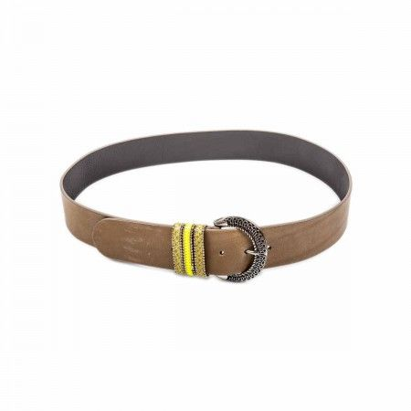 Belt Raw cut curve trim with patch belt loops in taupe/yellow fluo shades.