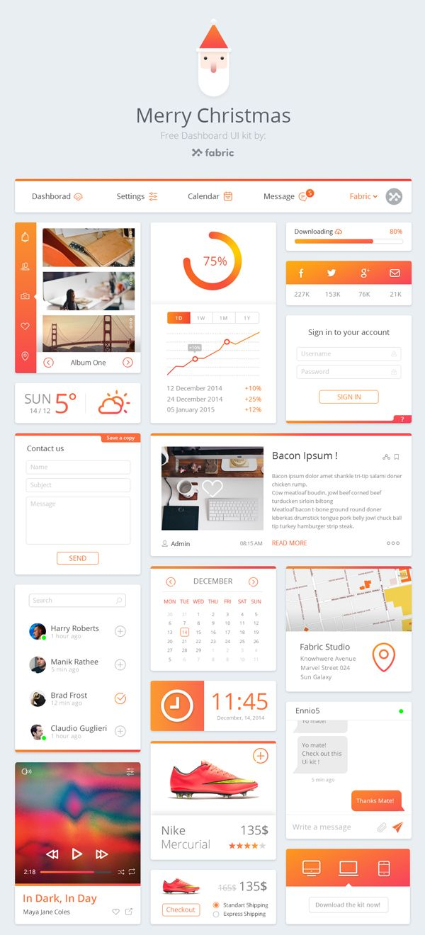 Free Dashboard UI Kit (PSD)