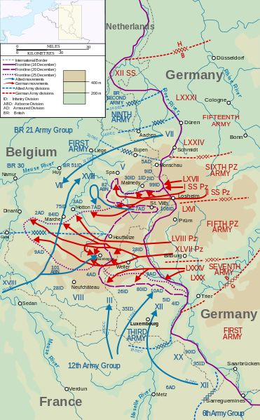 Map showing the positions of German units (in red type) before the Ardennes Offensive. Map covers 16–25 December 1944. Map data, operation lines, etc. taken from File:P23(map).jpg, a US military source.