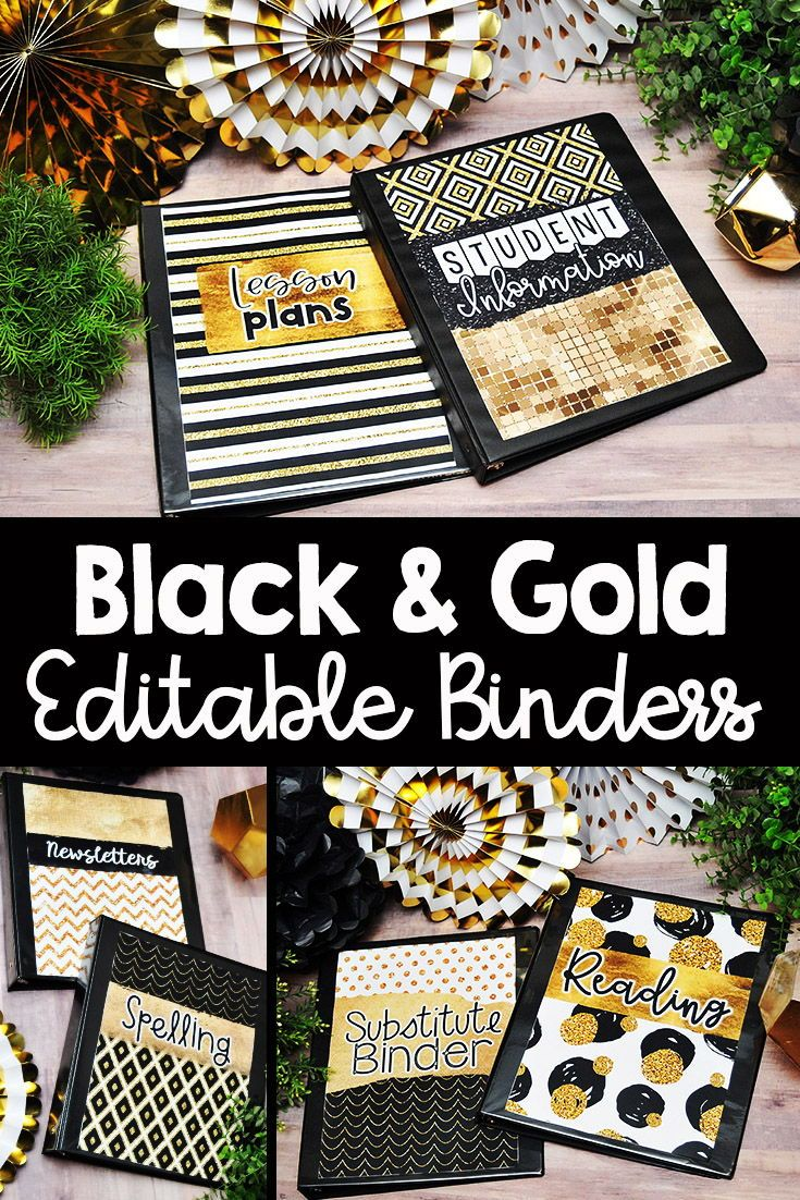 Binder Covers And Spines Black And Gold Classroom Decor