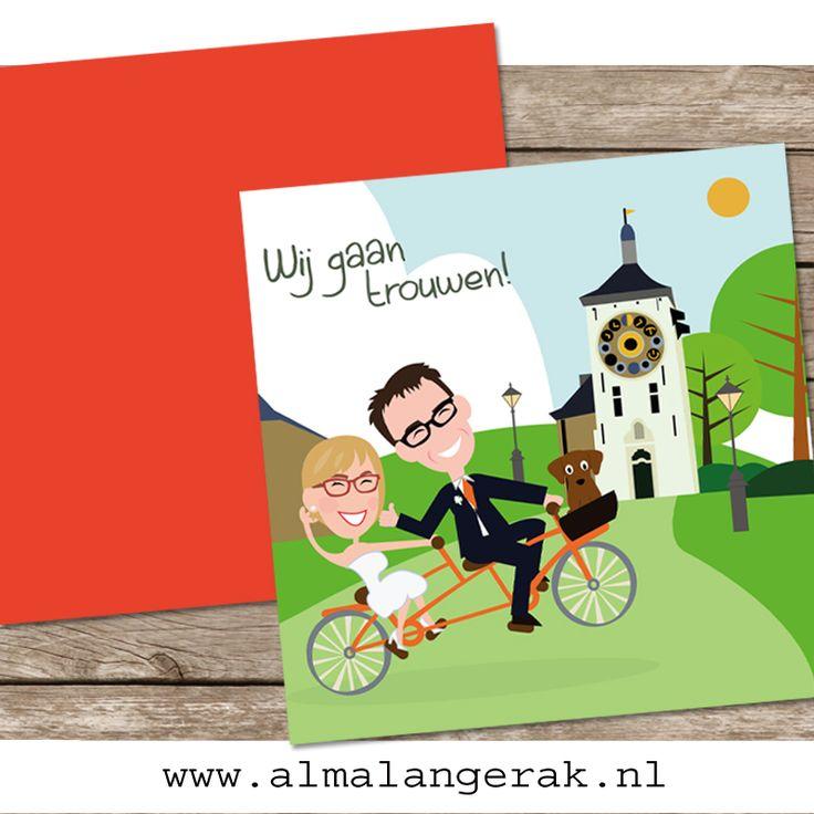 #maatwerk    #trouwkaarten   voor Jeroen en Sophie. Dit stel is  het bezit van een #tandem   dus die mocht ik ook op dit #trouwkaartje   plaatsen. In het mandje zit hun #hond .  Het bruidspaar woont en trouwt in in het Belgische plaatsje #lier   dus op de voorkant van het kaartje de #zimmertoren  .  Aan de binnenkant van het kaartje #fietsen   Jeroen en Sophie nog langs het water in dit stadje. #cartoon   #trouwkaartjes   #portret   #trouwen  in #lier   #kaartenopmaat