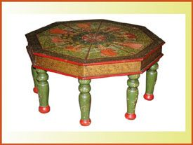 Hand Painted Round Table - Indian Painted Furniture, I can do something like this with my round coffee table