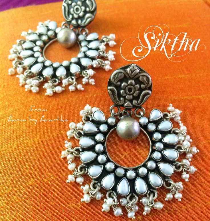 Siktha, the Pearl beauties, one of a kind, spreading the white light around. From Aaraa by Avantika  Handcrafted in sterling silver with pretty pearls!